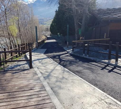 Un tratto della strada ciclabile di Gressan