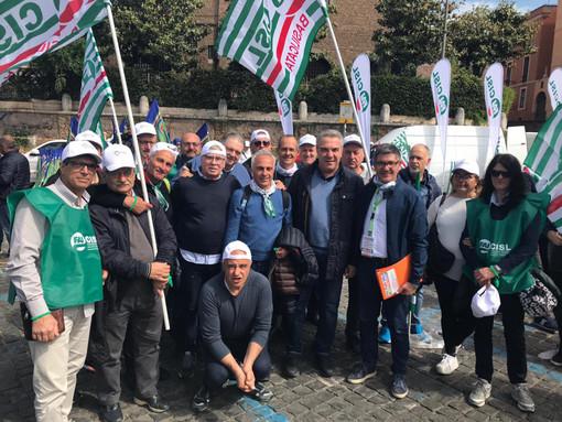 La protesta a Roma dei lavoratori del settore agroalimentare e ambientale