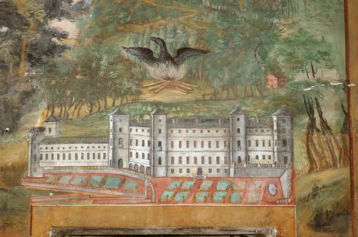 Un affresco nella Camera della Fenice a Chateau Vallaise