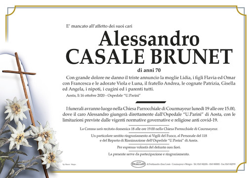 Courmayeur piange la morte di Alessandro Casale Brunet
