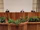 Da sn: Luca Montagnani, Coordinatore sanitario dell'emergenza COVID-19; Renzo Testolin, Presidente Regione; Pio Porretta, Coordinatore del Dipartimento della  Protezione civile