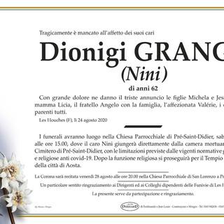 La Valdigne in lutto per la morte di Dionigi 'Nini' Grange