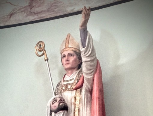La statua di San Grato nella chiesa di Valgrisenche