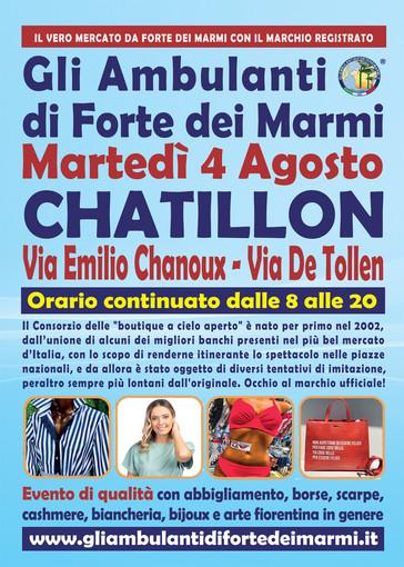 """La prima volta in Valle d'Aosta dell'evento-mercato più famoso d'Italia """"Gli Ambulanti di Forte dei Marmi®"""" a Chatillon"""