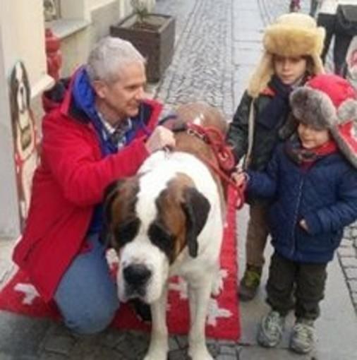 In via Martinet l'incontro con i cani San Bernardo