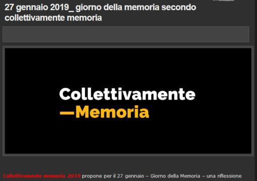 Collettivamente Memoria 2019 per riflettere e non dimenticare