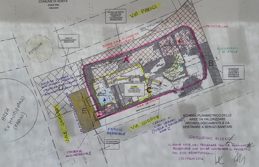 Una planimetria dell'area interessata dall'ampliamento del Parini che verrà costruito sopra il Museo. Nella Planimetria (allegata alla relazione della Sovraintendenza) si nota l'area con le specifiche
