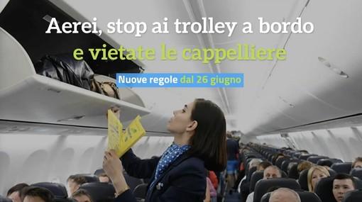 Bagagli a mano; Enac: vieta uso cappelliere a bordo degli aerei