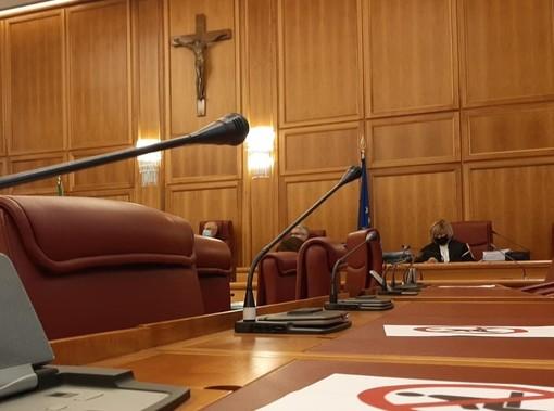 Sullo sfondo i giudici contabili durante l'udienza di Appello sui fondi al Casino