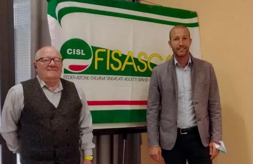 Giorgio Piacentini (a sn) e Henri Dondeynaz neo segretario Fiscat Cisl VdA