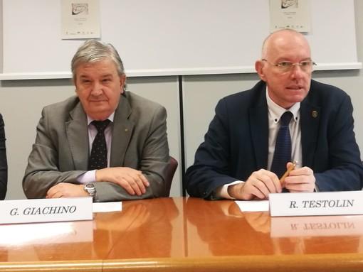 Giancarlo Giachino e Renzo Testolin durante la presentazione dell'iniziativa