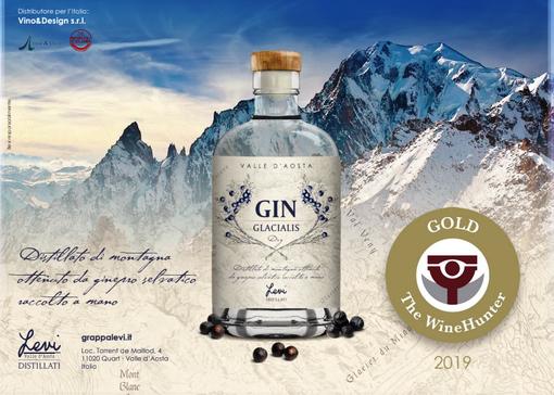 La Distilleria Levi protagonista al Concorso WINE HUNTER AWARD 2019 Medaglia d'Oro con il GIN Glacialis
