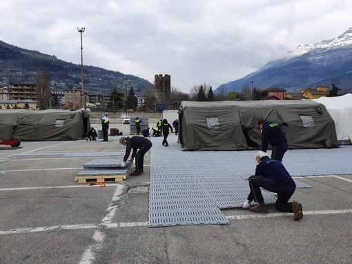 Coronavirus: Un nuovo ospedale da campo nel piazzale funivia Aosta-Pila per eventuali emergenze