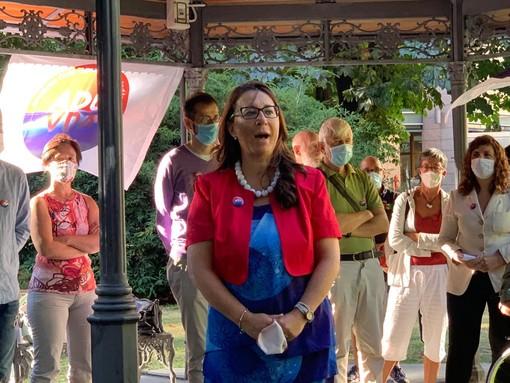 Daria Pulz durante la presentazioni dei candidati alle elezioni comunali di Aosta