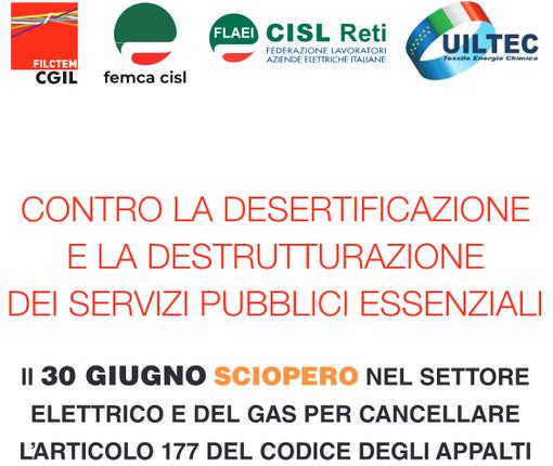 Il 30 giugno sciopero nazionale del settore elettrico, gas-acqua e igiene ambientale