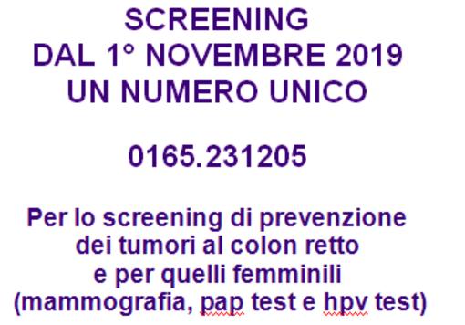 SCREENING: DAL 1° NOVEMBRE 2019  UN NUMERO UNICO 0165.231205