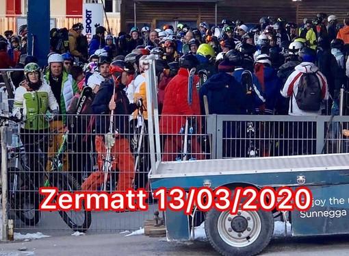Coda agli impianti di risalita a Zermatt nel febbraio scorso